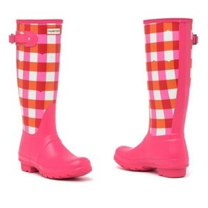 HUNTER Original Tall Gingham Printed Rain Boots